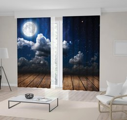 stars clouds NZ - Night Sky with Stars Full Moon Clouds Wooden Floor under Moonlight Romantic View Printed Curtain