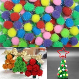 flowering ball toy NZ - 10 15 20mm Multicolour Glitter Pompon Plush Balls Diy Flower Crafts Toy Home Decor Decoration Wreaths Accessories Christmas Gift