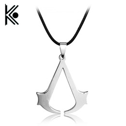 assassins creed pendant NZ - HOT Sale Cospaly Jewelry Assassins Creed Necklace Alloy Pendant Necklage Silver Plated For Men Gifts Wholesale
