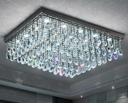 Discount rectangle dining room modern chandeliers - rectangle design crystal ceiling chandelier LED lighting AC110V 220V luxury living room bedroom lamp fast shipping