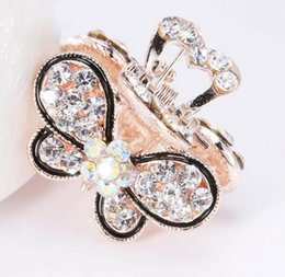 wholesale girls butterfly hair claws Australia - Sparkling Women Girls Diamante Crystal Butterfly Hair Claw Clamp Small Hair Clip