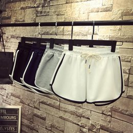 black lace up womens shorts NZ - summer sweat patchwork elastic waist shorts women lace up running jogger white black short pants vintage womens clothing 2020