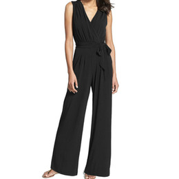 2a7f4309c13 Fashion Office Lady Jumpsuit Sleeveless Zipper Women Romper Summer V-neck  Sashes Jumpsuits Female Wide Leg Pants Plus Size GV753