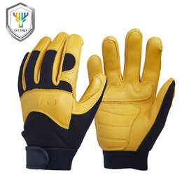 bikers leather gloves Australia - Ozero Men's Fashion Gloves Genuine Leather Deerskin Winter Motocross Motorcycle Biker Racing Riding Driving Moto Gloves 8003 SH190729