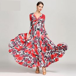 Wholesale ballroom dresses for tango resale online - Sexy Women Lace Printing ballroom dance dress for woman long sleeves waltz tango dance dresses standard ballroom dress black red