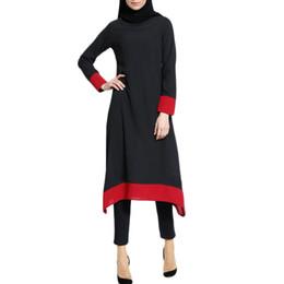 Cotton islamiC abaya online shopping - Muslim Women Islamic Splice Pure Color Plus Size Middle East Long Dress hijab abayas for women dress