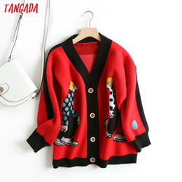 grey cardigan sweater women Canada - Tangada women cute cartoon cardigan sweater long sleeve buttons female thick knit sweaters basic red black grey tops BC21 V191217