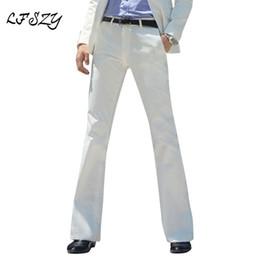 $enCountryForm.capitalKeyWord Australia - 2019 New Men's Flared Trousers Formal Pants Bell Bottom Pant Dance White Suit Pants Formal for Men Size 28- 37
