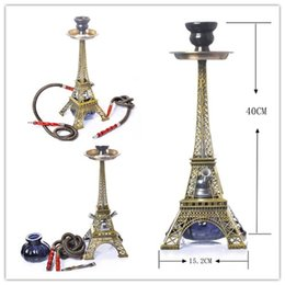 acrylic water glasses Australia - Hookah Shisha 40cm Height Eiffel Tower Shape Acrylic Smoking Pipe 15.7inches Double Hose Glass Water Tobacco Pipes Cigarette Filter Set
