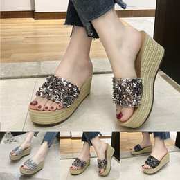 $enCountryForm.capitalKeyWord Australia - Women Wedges Beach Slipper Shoes comfy platform sandal shoes Ladies Summer Crystal Bling Bohemian sandals Outside Flip Flops