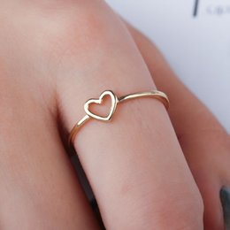 Hollow Fingers Australia - minimalist gold silver thin metal hollow heart love charm size 6 7 8 9 10 rings for women gift for her stackable finger jewelry