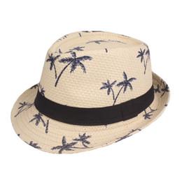 Straw Hat Trilby UK - hot sale Summer straw Sun hat kids Beach Sun hat Trilby panama Hat handwork for boy girl Children 4 colour AVI-0296