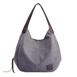 Multi Color Ladies Handbags Australia - Brand Women's Canvas Handbags High Quality Female Hobos Single Shoulder Bags Vintage Solid Color Multi-pocket Ladies Totes #C