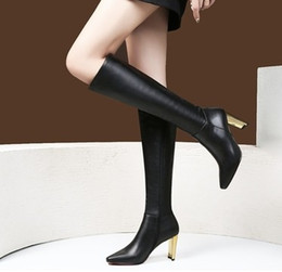 Lycra Legging Hot NZ - New Arrival Hot Sale Specials Super Fashion Influx Martin Roman Black Thin Legs Retro Real Leather Party Knight Heels Boots EU34-39