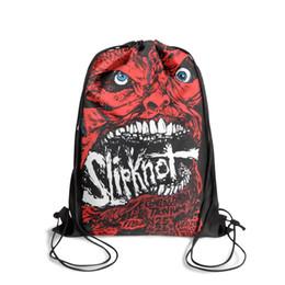 Polyester Mask Australia - Drawstring Sports Backpack Slipknot Red mask vintage adjustable cinch Pull String Backpack