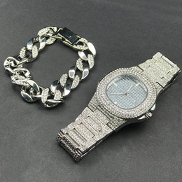 $enCountryForm.capitalKeyWord Australia - Hip Hop Mens Diamond Watches + Diamond Bracelets For Men Luxury Fashion Gold Mens Watches Top Brand Set Have BOX Gift