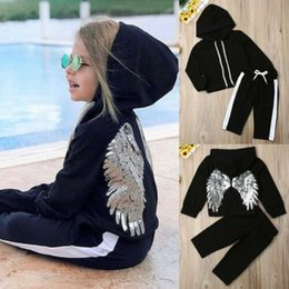 wing tracksuits NZ - Kids Baby Girl Clothes Hooded Wing Tops Long Pants Tracksuit Outfits