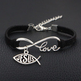 god bracelet wholesale NZ - 2019 New Arrival Jesus & God Love The Fish Charms Jewelry Antique Silver Heart Pendants Infinity Love Black Leather Bracelets Women Men Gift