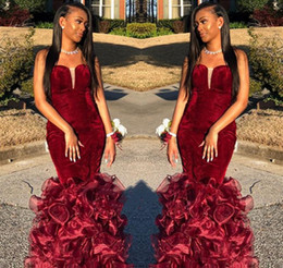 $enCountryForm.capitalKeyWord Australia - Sexy Mermaid Burgundy Prom Dresses 2019 African Black Girls Velvet Pageant Holidays Graduation Wear Formal Evening Party Gowns Plus Size