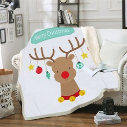 $enCountryForm.capitalKeyWord Australia - Custom DIY Printing Blanket Elk and Moon Sherpa Fleece Microfiber Wearable Blanket Deer Animal Moonlight manta