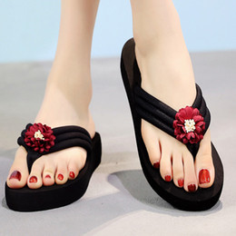 Wholesale Red Shoes Australia - Shoes Woman Flat Slipper Open Toe Heels Red Sun-Flower Shoes Bride Ladies Casual Zapatos De Mujer