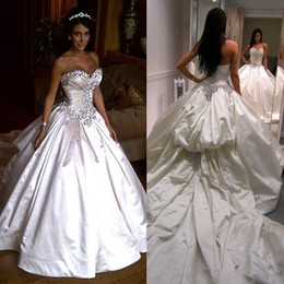 Pnina Tornai Wedding Dresses Ball UK - Luxurious Ivory Bling Pnina Tornai Wedding Dress Sweetheart Ball Gowns Sparkly Crystal Backless Cathedral Long Train Bridal Gowns