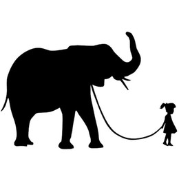 China HotMeiNi Wholesale 20pcs lot 16cm x 11cm Girl Walking A Elephant Sticker Car Window Wall Bumper Pet Cartoon Vinyl Decal supplier elephant decals suppliers