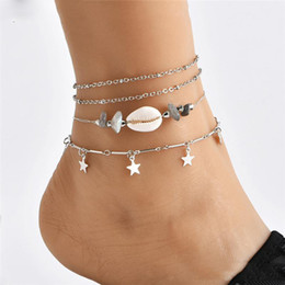 Silver Leg Chain NZ - 4PCS Set Beads Chain Women Anklets Boho Silver Color Star Shell Stone Ankle Bracelet on the Leg Beach Foot Beach Ocean Jewelry For Girls