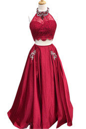 $enCountryForm.capitalKeyWord UK - Lovely Burgundy Evening Gowns Long With Pockets Two Pieces Crystal Beading Prom Formal Dresses Bridesmaids Evening Wear Party Dress Cheap