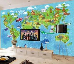 Wood Kids Kitchen Australia - custom size 3d photo wallpaper living room mural cartoon kids animal world trave picture sofa TV backdrop wallpaper non-woven wall sticker