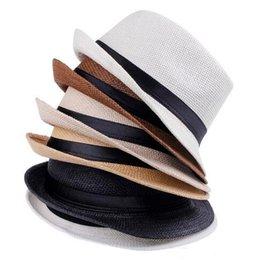 $enCountryForm.capitalKeyWord UK - Fashion Hats for Women Fedora Trilby Gangster Cap Summer Beach Sun Straw Panama Hat with Ribbow Band Sunhat Free Shipping EMS