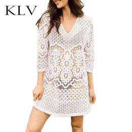 $enCountryForm.capitalKeyWord Australia - Women Vacation Solid Color Hollow Out Beach Mini Dress Sexy Semi Sheer Crochet Floral Lace Deep V-Neck 3 4 Sleeves Tunic Tops