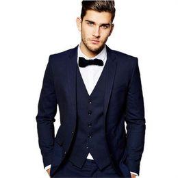 Suit Tie Clothes Red Australia - Navy Blue Handsome Suits For Men 3 Pieces(Jacket+Pants+Vest+Tie) Custom Made Slim Fit Blazer Fashion Style High Quality Clothes