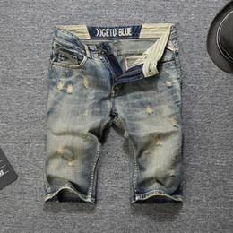800a8575e1 Italian Style Fashion Men Jeans Shorts Retro Wash Summer Streetwear Casual  Hip Hop Denim Shorts Vintage Ripped Short Jeans Men
