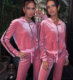 $enCountryForm.capitalKeyWord Australia - New women's Clothing pink girl Sports Suit Long sleeves + trousers pink Sport Lounge Wear Ladies Jogging Suits