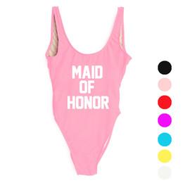 2cca48b26a 2019 High Cut One Piece Swimsuit MAID OF HONOR Letter Design Sexy Swimwear  Women Monokini Bodysuit Bathing Suit badpak YWXK