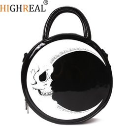 $enCountryForm.capitalKeyWord NZ - Women Lady Girl Punk Dark Skull Head Thunder Flash Printed Gothic Cross Body Moon Messenger Bag Round Handbag Harajuku Gift Y19061301