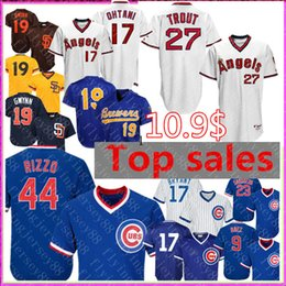 Tony gwynn baseball online shopping - Retro Mike Trout Shohei Ohtani Los Angeles Angels Jersey Anthony Rizzo Chicago Cubs Kris Bryant Sandberg Tony Gwynn men