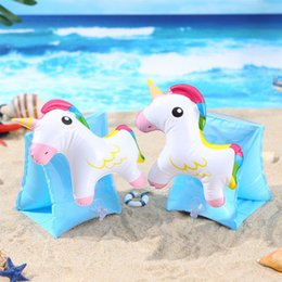 Inflatable Bath Kids NZ - Kids Unicorn Inflatable Toys 2019 Baby Boy PVC Water Beach Toys Animal Arm circle Children Bath Toy Summer