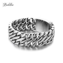 $enCountryForm.capitalKeyWord Australia - Double Curb Cuban Chain Bracelet Mens 316l Stainless Steel Wristband Bangle Silver Tone 23mm Buddha Bracelet With Logo J190719