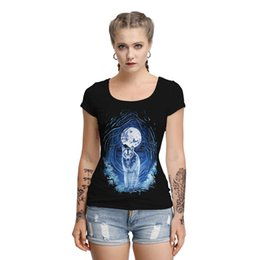 skull graphic tees UK - New Women Gothic Skull T-Shirt Sexy Hollow Back Summer Tshirts Fashion Goth Graphic Tee Shirt Tops