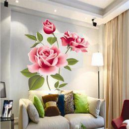 $enCountryForm.capitalKeyWord Australia - Romantic Pink Rose Wall Sticker Home Decor Bedroom Art Mural Flowers Decoration PVC DIY Valentine's Day Gifts Poster Wallpaper