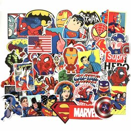 Wholesale 50pcs set Super Hero Car Stickers For Car Laptop Notebook Decal Fridge Cool Car Exterior Styling HHA220