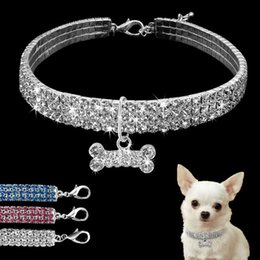 large alloy pendants wholesale NZ - Beautiful Alloy Rhinestone Dog Necklace Collar Pendant for Pet Puppy small dogs party decor sui0151