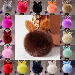 $enCountryForm.capitalKeyWord Australia - Free DHL 18 Styles Rabbit Ear Fur Ball Pom Pom Key Chain Fluffy Keychain Women Bag Key Holder Fur Pompom Keychains Fashion Key Ring D316Q F