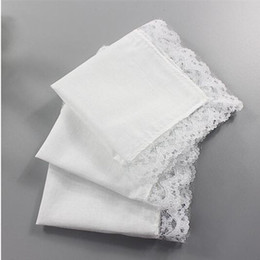 White Cotton Napkins Australia - White Lace Thin Handkerchief Woman Wedding Gifts Party Decoration Cloth Napkins Plain Blank DIY Handkerchief 25*25cm