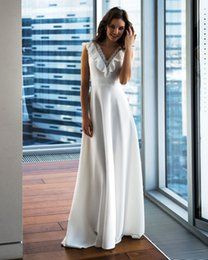 $enCountryForm.capitalKeyWord Australia - Simple Design Cheap Wedding Dresses 2019 Bohe V Neck Ruffle A Line Sweep Train Satin Bridal Gown Wedding Dresses With Sash