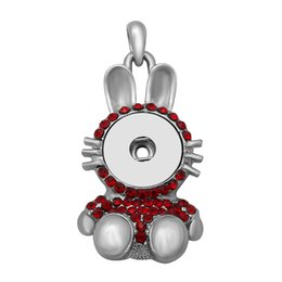 $enCountryForm.capitalKeyWord UK - Mixed color rhinestone rabbit ginger button pendant necklace snap jewelry with DIY interchangeable snap jewelry