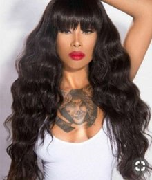 """Brazilian Lace Wigs Fringe Australia - Diva 24"""" brazilian hair lace front wig with bang natural fringe 180%density 360 lace frontal wig pre plucked"""
