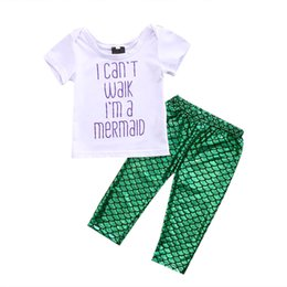 Wholesale 3PCS Set Newborn Baby Girls Mermaid Clothes Summer Short Sleeve Letter Printed T shirt Green Mermaid Pant Legging Outfits Y18120801